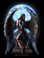 Spiral skull angel back by henning