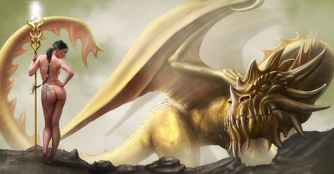 Dragon caller, landscape by henning
