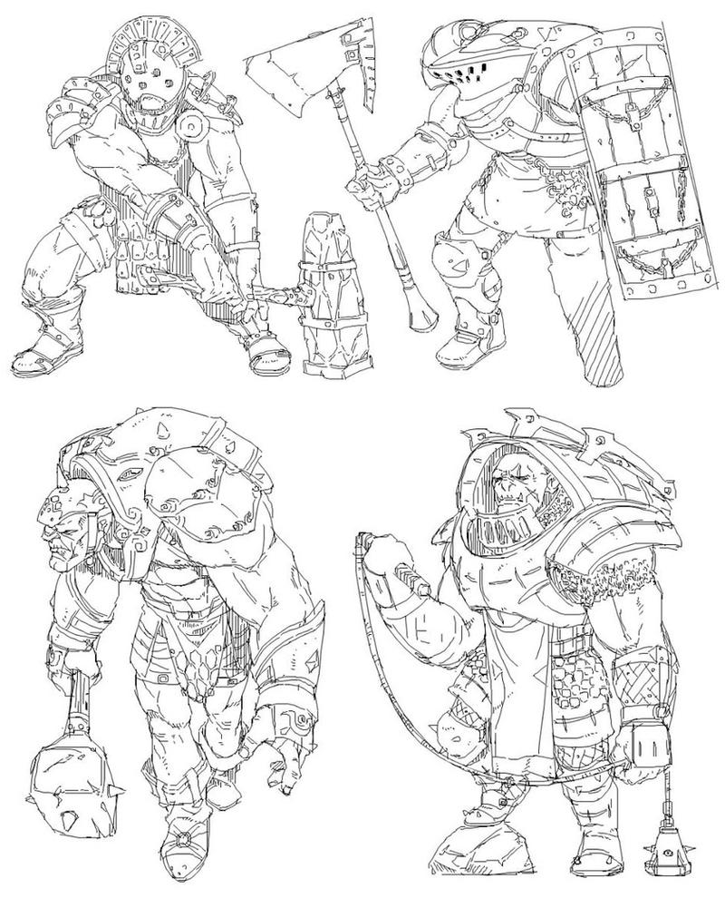 Orc Sketches by CypressDahlia