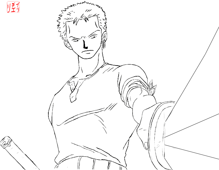 Roronoa zoro lineart by irchiel on deviantart for Zoro coloring pages