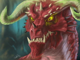 Red Dragon In a cave somewhere by MatsuRD