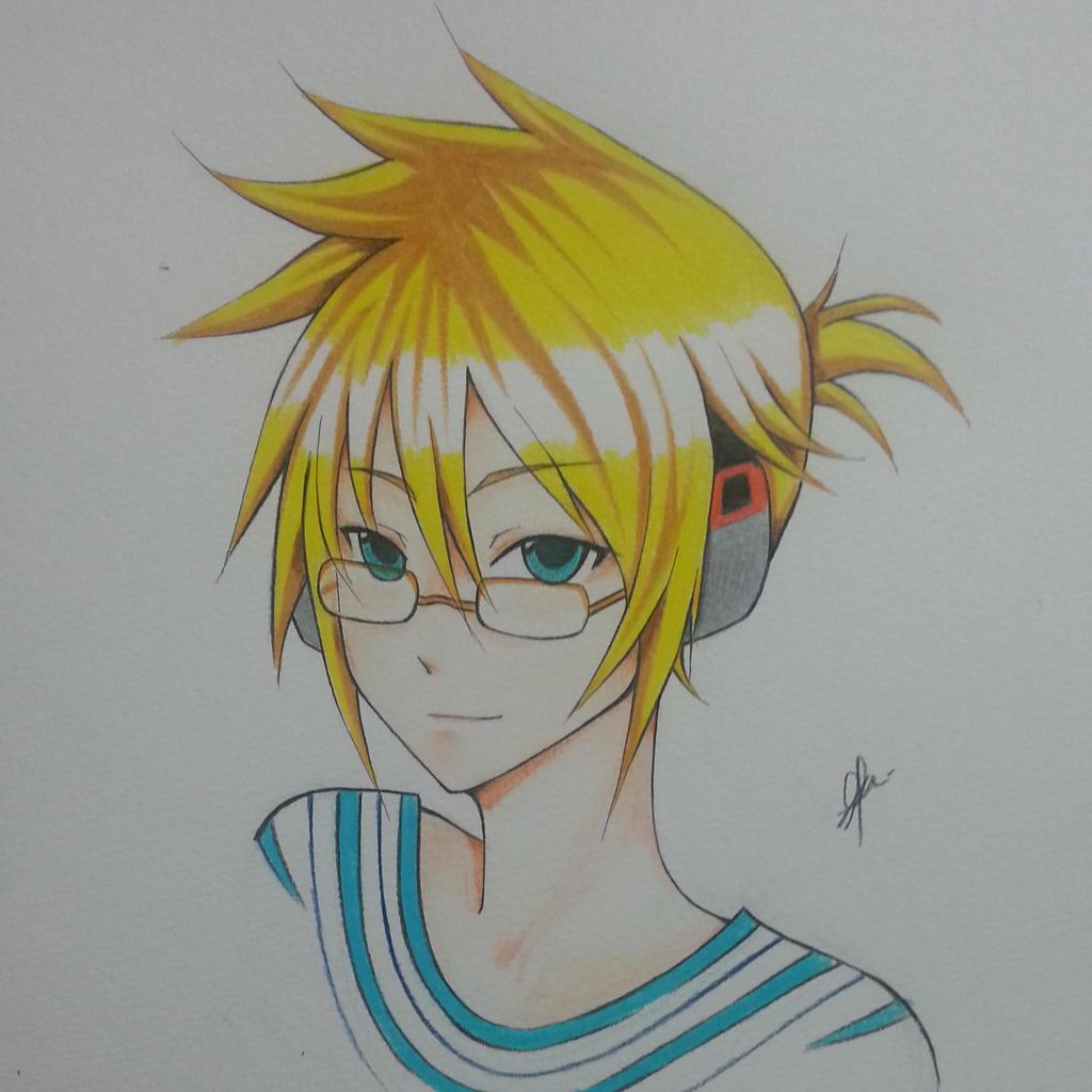 Kagamine Len with Glasses~~Please Study Hard! by thumbelin0811