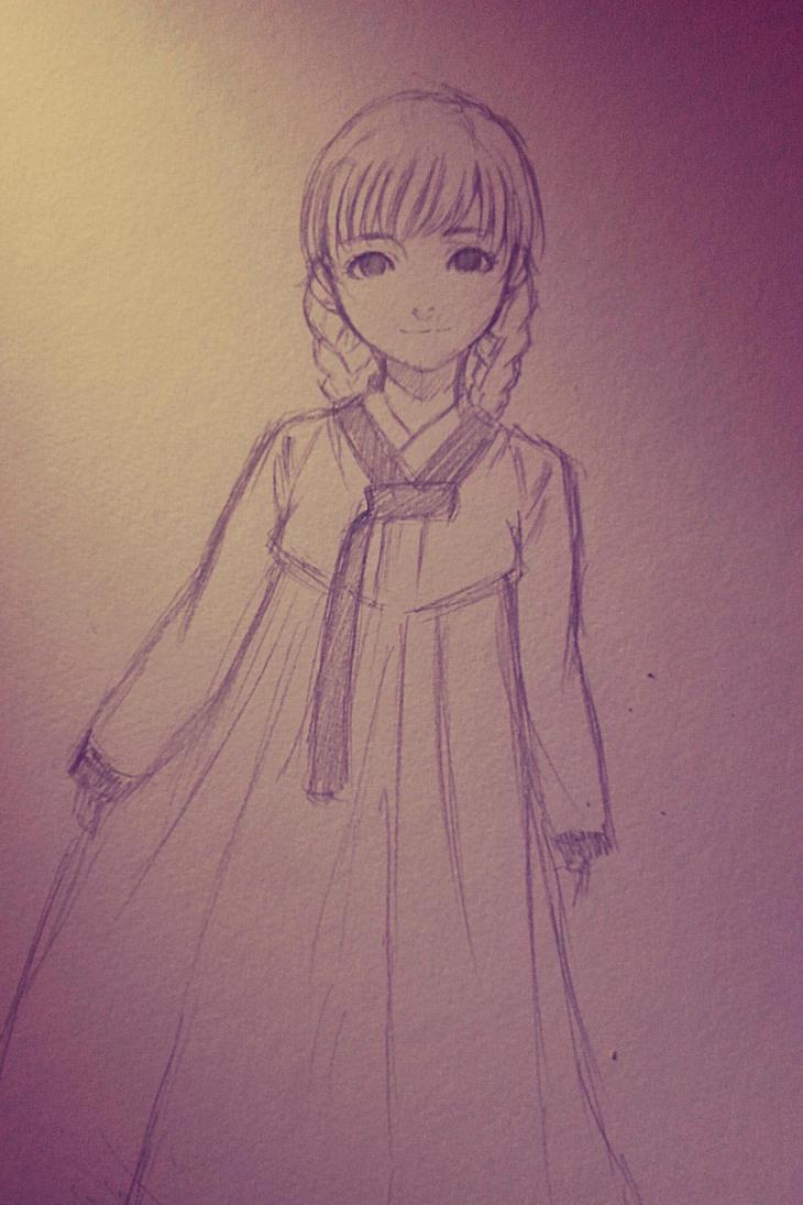 girl in hanbok by thumbelin0811