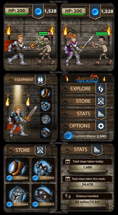 Dungeon Tracker game screens by EmilGoska
