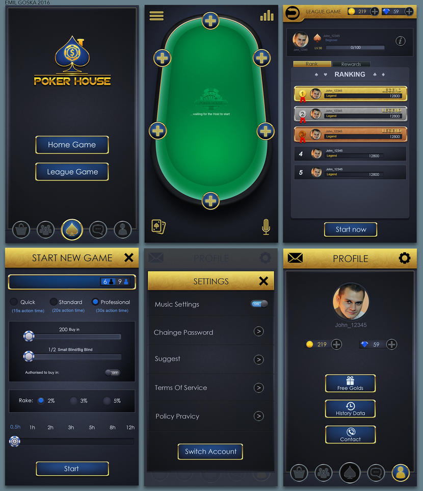 Poker House game screens by EmilGoska