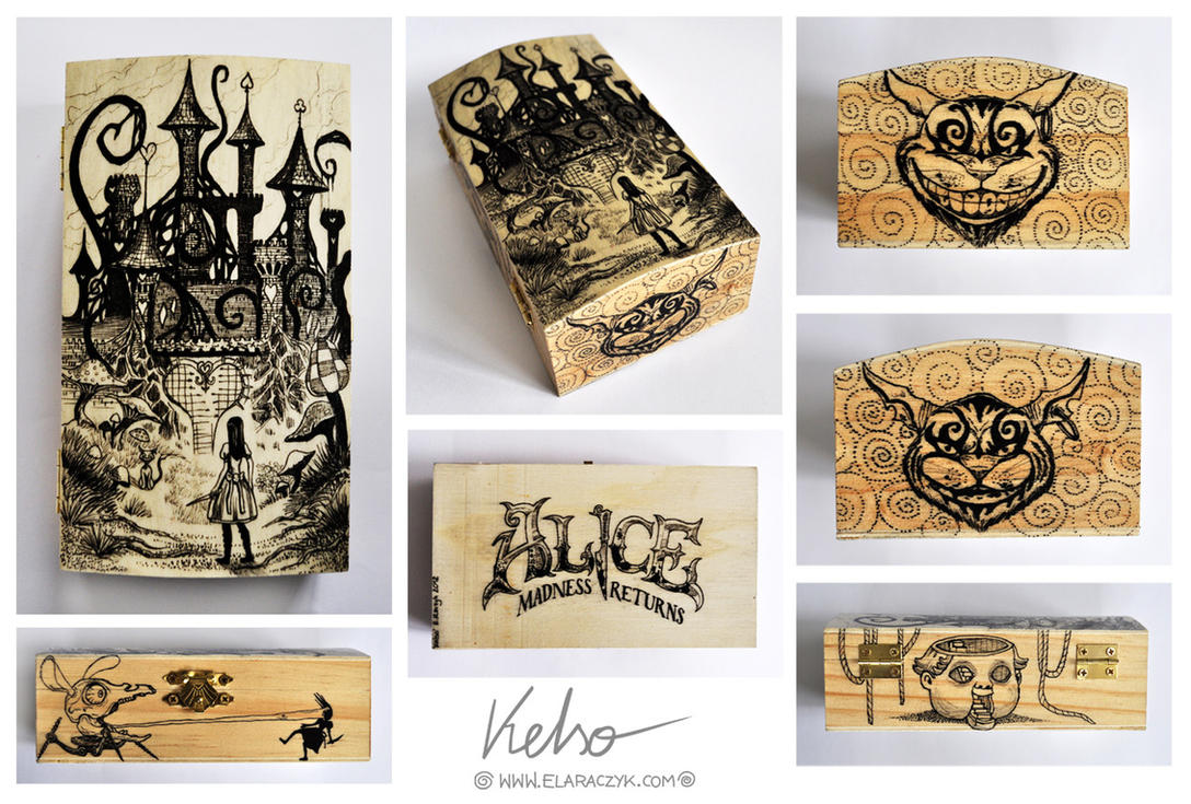 Alice Madness Returns woodenbox by ElaRaczyk