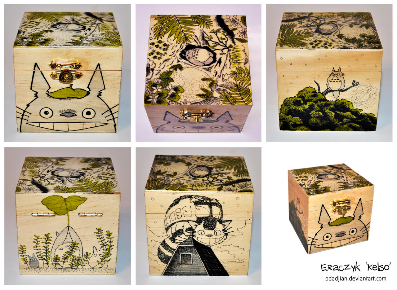 Totoro wooden box by ElaRaczyk