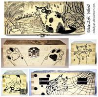 Crazy cats wooden box