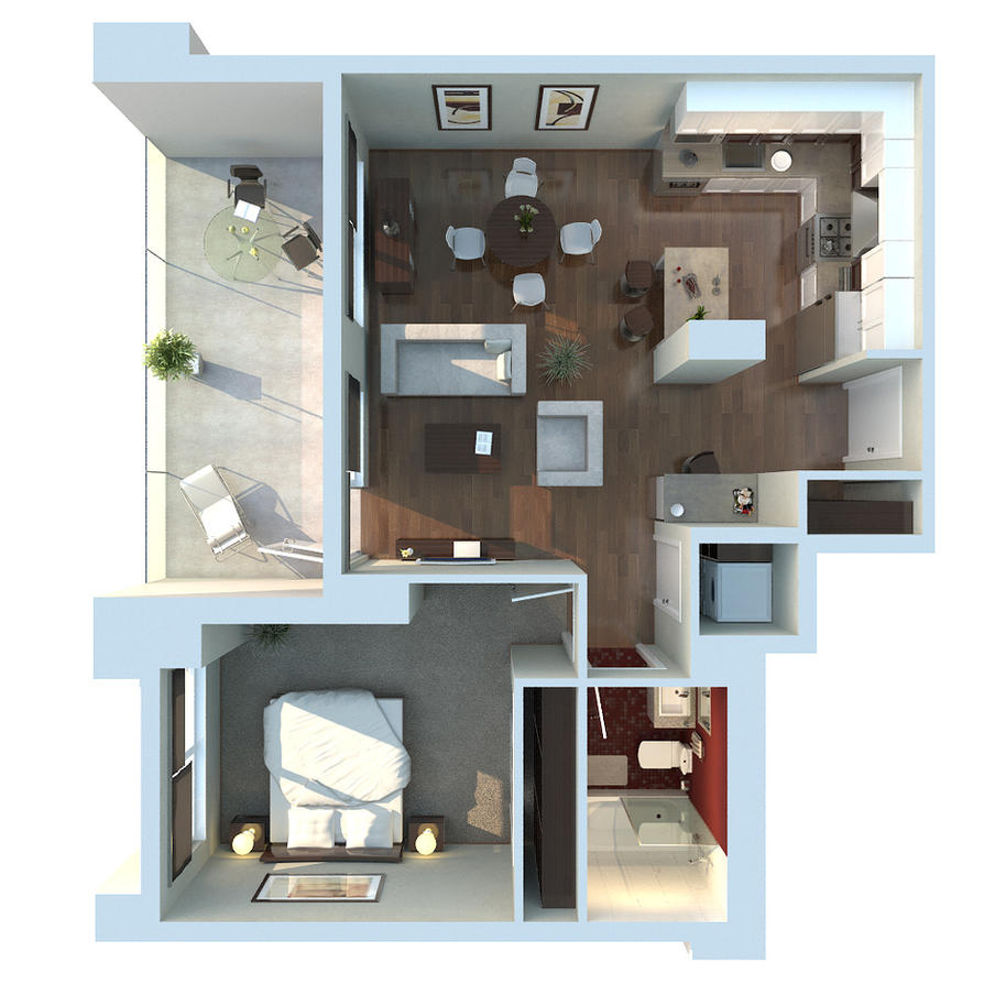 Apartment 3D Floor Plan By Zodevdesign