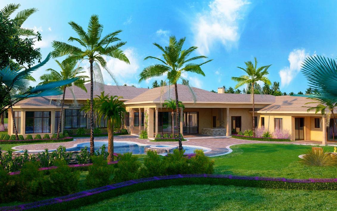 Florida home rendering back by zodevdesign on deviantart for Floridian homes