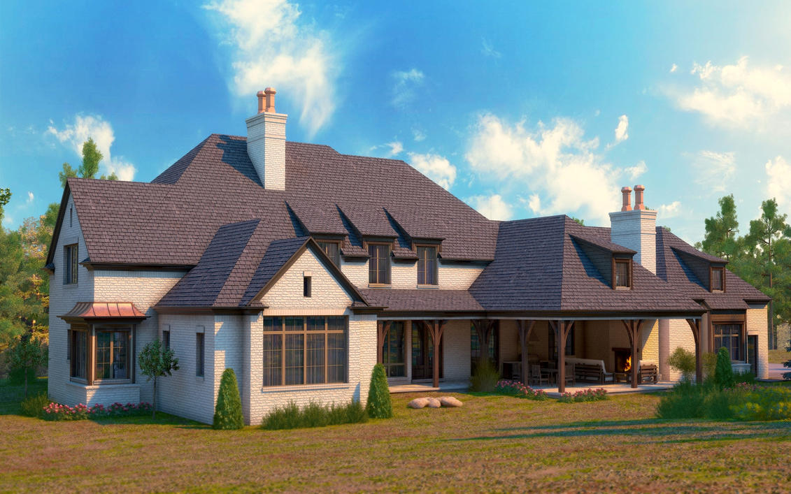 Large Home Exterior Back by zodevdesign