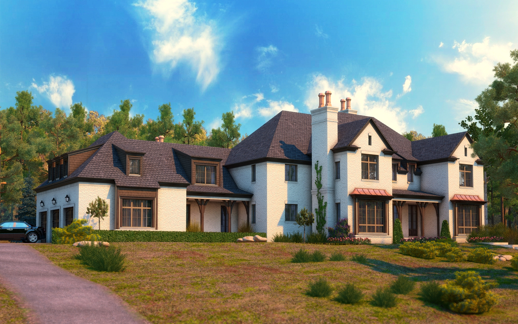 Large Home Exterior Front by zodevdesign