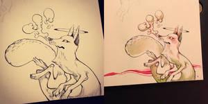 long fox ink and watercolors