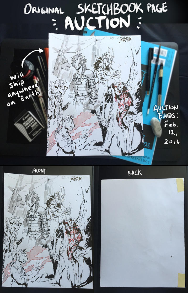 Original sketchbook page AUCTION by HJeojeo