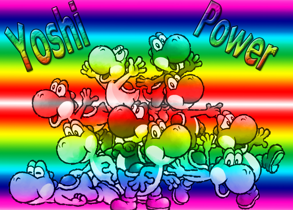 Rainbow of Yoshis Wallpaper by Teeter-Echidna