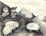 Bo's history: cheerful shepherd and sad lambs. by mirt