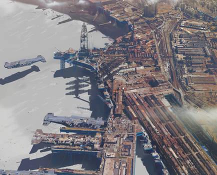 Industrial aera, airship construction facility