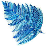 Blue Watercolor Feather
