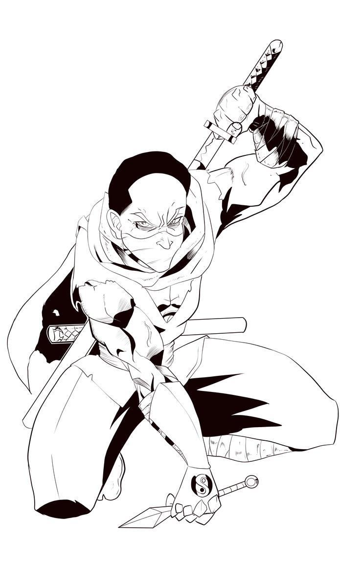 Steve Ninja Black And White by Darkstampede