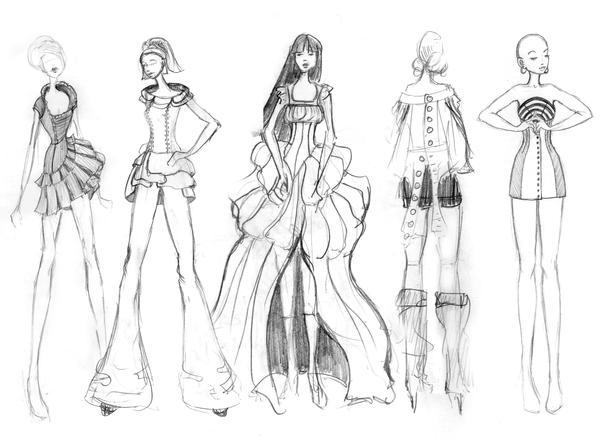 Fashion Sketches 2, misc. by granatmythos