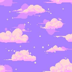 Pixel clouds - pattern by Takkaia