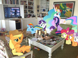 Ponies watching Star Wars in Folly Cottage (pt. 1) by RedCard94