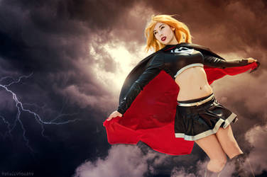 Evil Supergirl in the clouds.