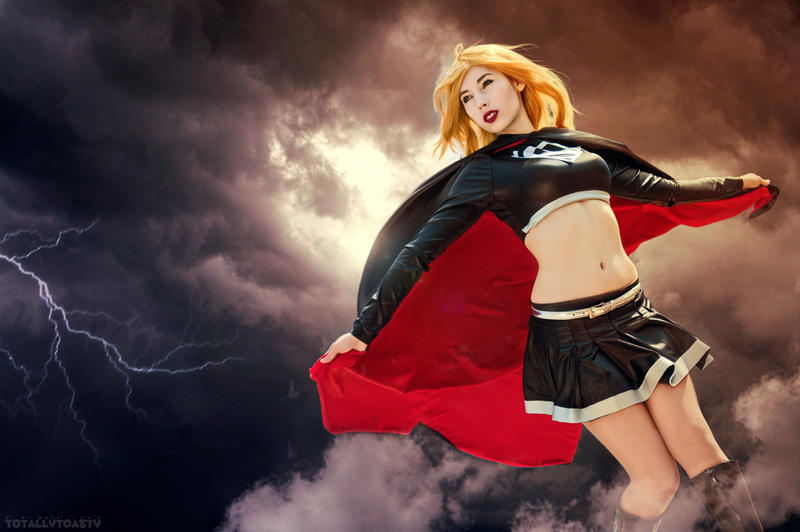 Evil Supergirl in the clouds. by ShikiUta