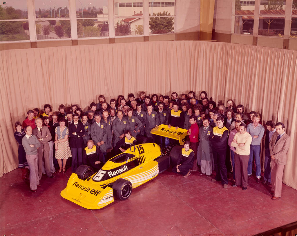 equipe renault elf group photo france 1977 by f1 history. Black Bedroom Furniture Sets. Home Design Ideas