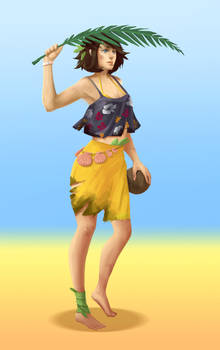 Woman on a desert island