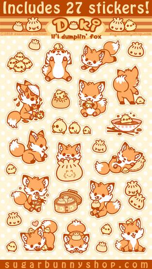 Doki Fox Sticker Set by celesse