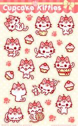 Cupcake Kitties Sticker Sheet by celesse