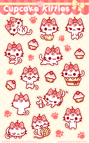 Cupcake kitties sticker sheet by celesse on deviantart