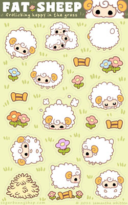 Fat Sheep Sticker Sheet by celesse