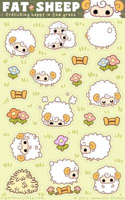 Fat Sheep Sticker Sheet by celesse