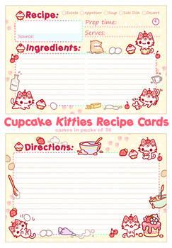 Cupcake Kitties Recipe Cards
