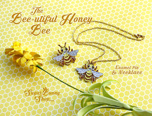 Bee-utiful Honey Bee Enamel Pin and Necklace