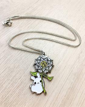 Dandelion Puddle Bunny Necklace