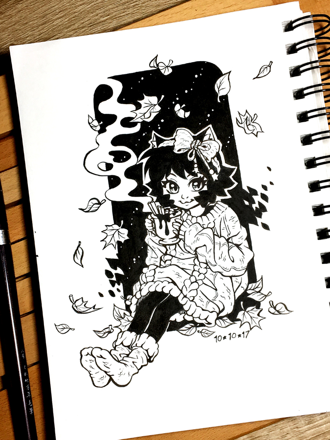 Inktober 2017 Day 10 - Gigantic (sweater) by celesse