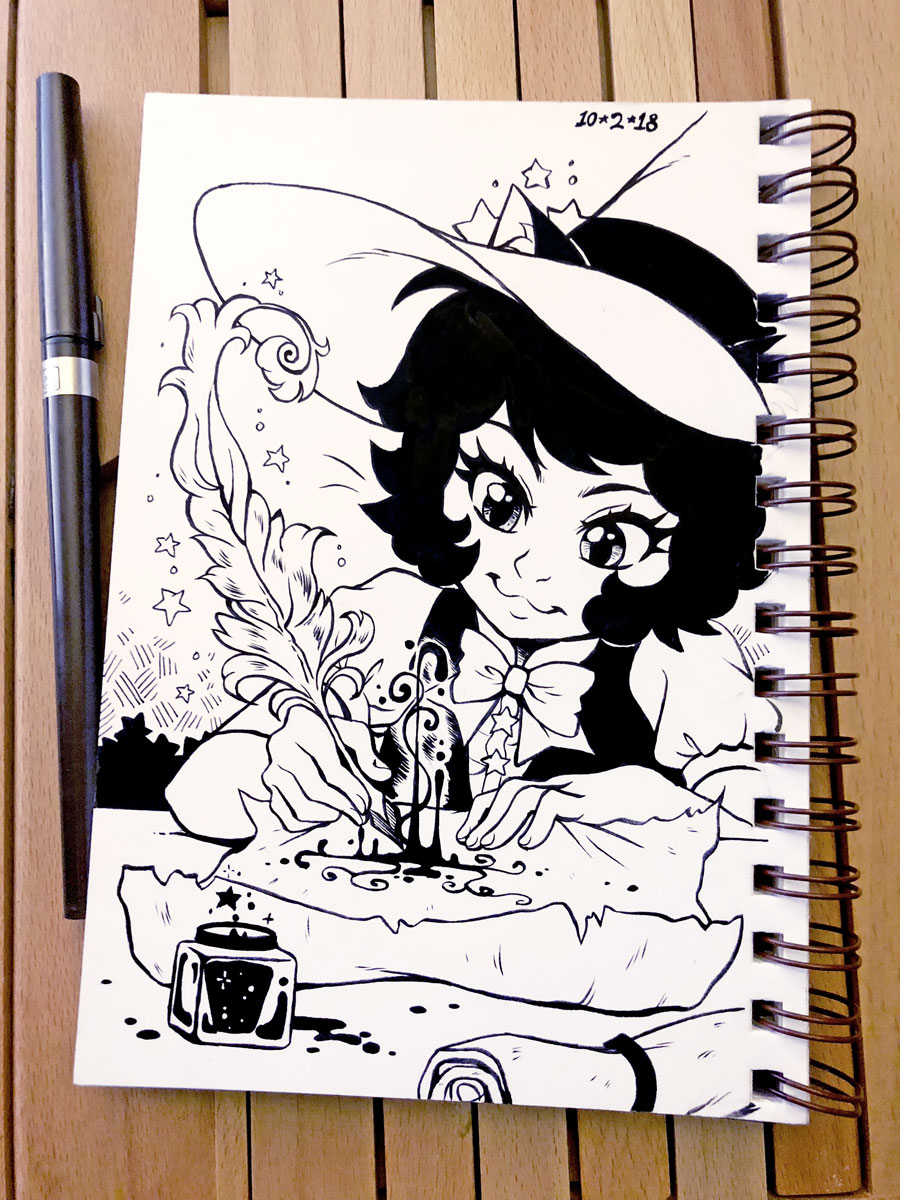 Inktober 2018 Day 2 - Tran(quill) by celesse