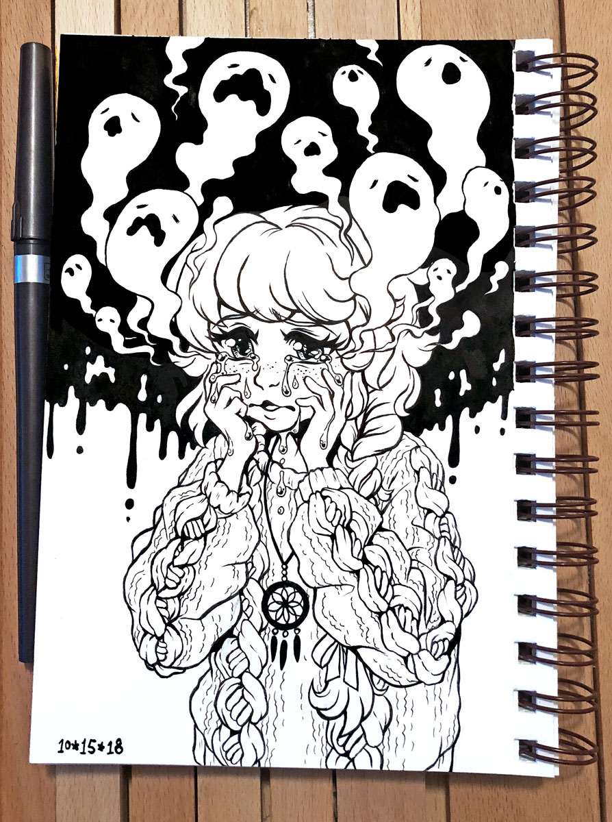 Inktober 2018 Day 15 - Weak by celesse