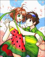 Sakura and Syaoran by celesse