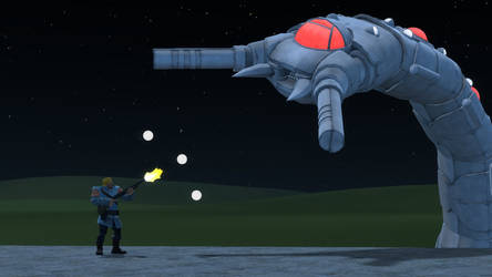 Bill Rizer vs Destroyer by Perlgb