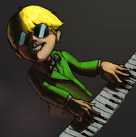 Jeff Plays Piano by fluxmage
