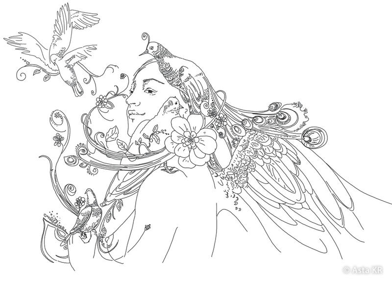 Card with woman, blossoms and birds. by Astaillustration