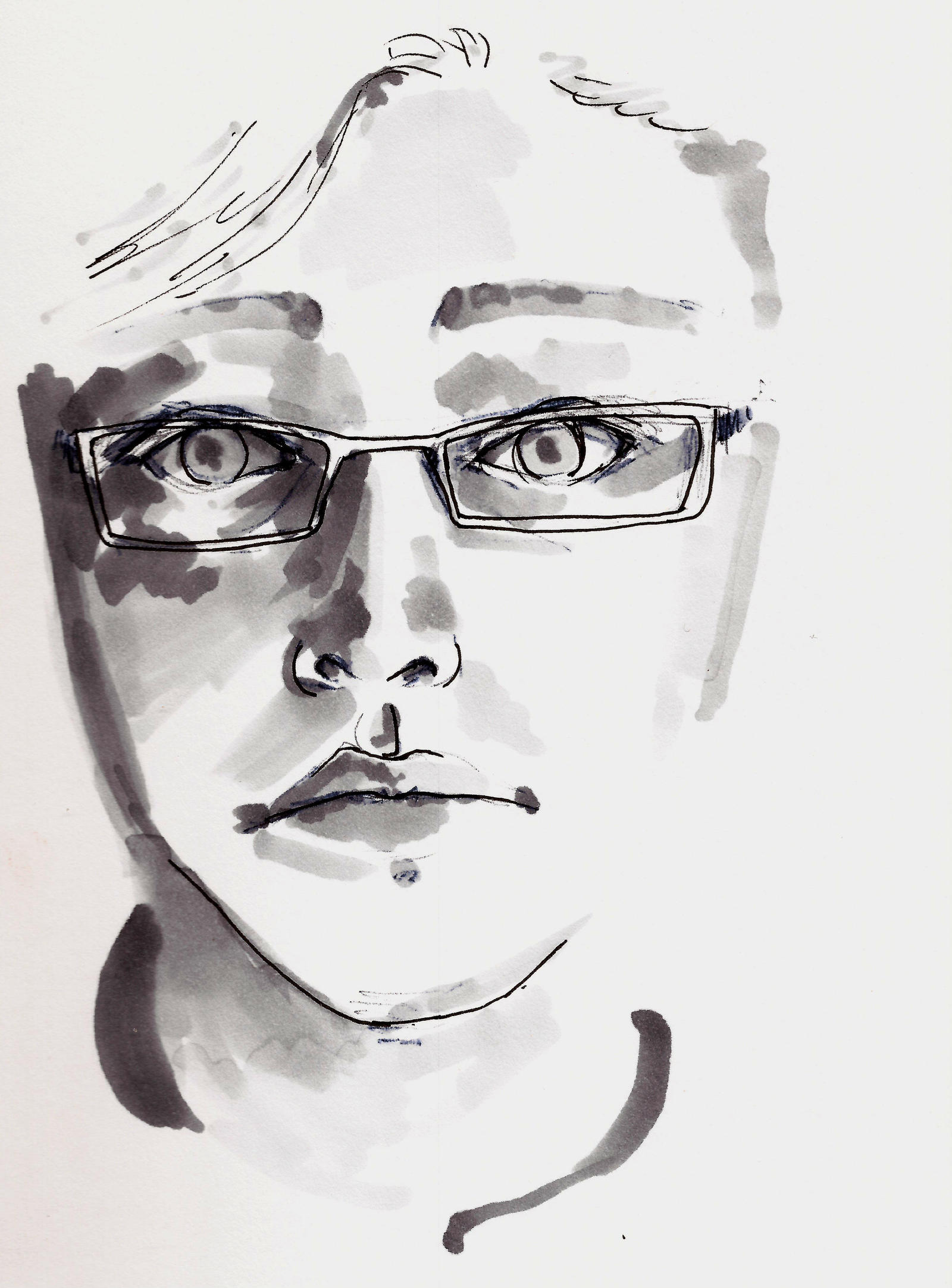 Self Portrait in Marker by IvurNave