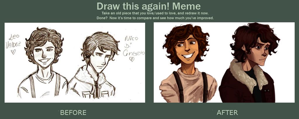 Draw this again meme Leo and Nico by whenpopsucks