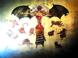 WHEATPASTE: Manananggal with Tiyanak Horde by GerilyaGallery