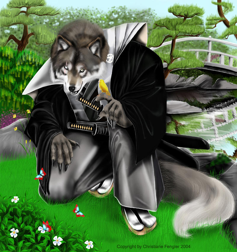 Samurai Wolf Anthro by chrissi-dinos