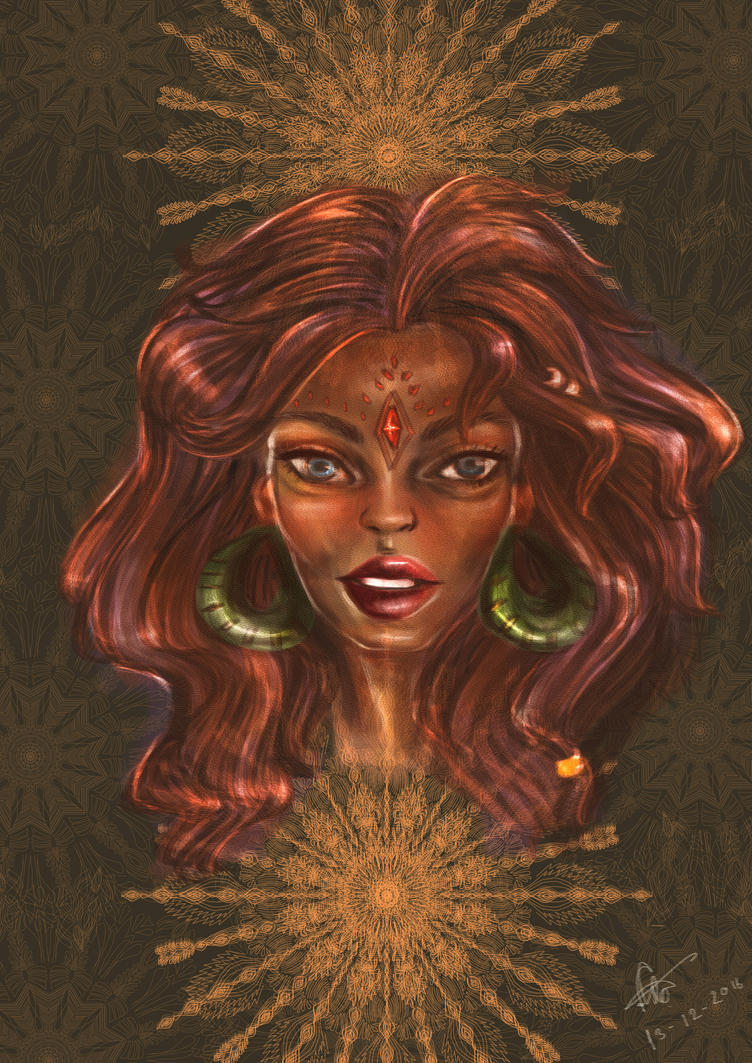 Gypsy girl with mandala of mind by froykanok